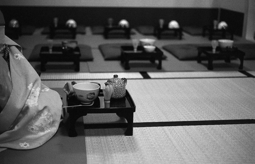 Setting-up for the tea ceremony